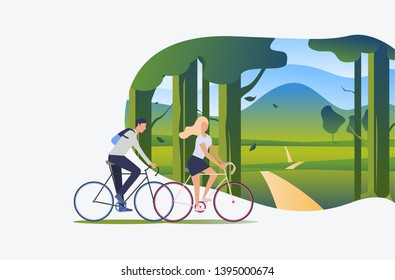 Man and woman riding bicycles with green landscape in background. Tourism, activity, leisure concept. Vector illustration can be used for topics like summer, holiday, sport