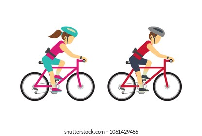 Man and Woman riding bike cycling for fitness and listening music with gadget wireless earphone ,smartwatch and Waist bag vector illustration flat style.Isolate on white background.
