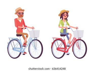 Man and woman riding a city blue and pink bike with basket, wearing straw hat and helmet, healthy lifestyle, spending time together, vector flat style cartoon illustration isolated on white background