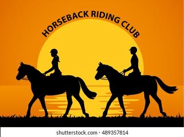 Man and Woman Riding Horses at Sunset. Romantic Vector Illustration
