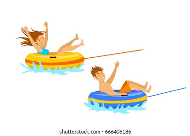 man and woman riding tube  extreme summer beach vacation holidays sport fun activity. isolated