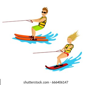 man and woman riding waterski and wakeboard isolated cartoon vector illustration