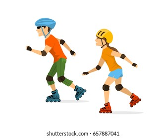 man and woman roller skating isolated