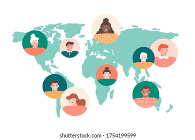 Man and woman round avatars, world map on white background. Network connection, communication around the world, multinational society concept. Flat vector illustration.