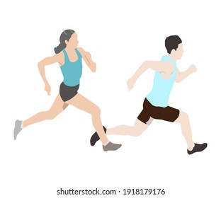 Man and woman running on white background. Sport vector flat design. People runs.