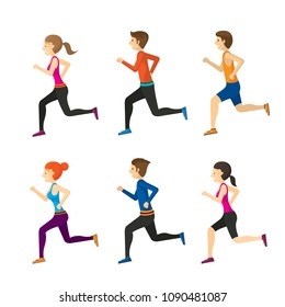 Man and Woman Running Set, Sport and Exercise, Jogging, Relax