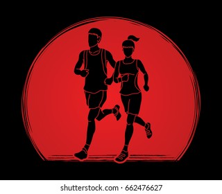 Man and woman running together, marathon runner designed on sunlight background graphic vector
