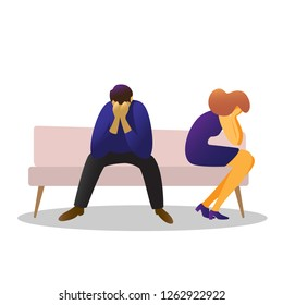 Man and woman sad sitting on the couch. A complex psychological situation ,  conflict, e stress,  fight. Color images of sitting men and women to design websites, banners, etc. in the style of flat