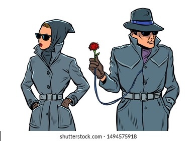 man and woman secret agents, spies. isolate on white background. Comic cartoon pop art retro illustration drawing