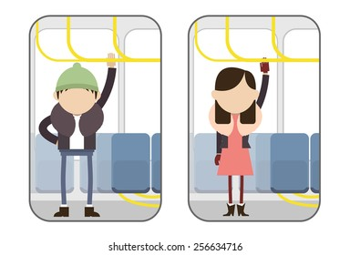 Man and woman in separate images standing in the bus