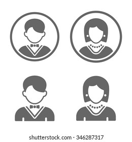 Man and woman set of four black vector user profile avatars isolated on white background