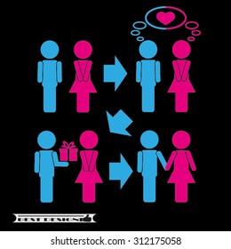 man  woman set icon