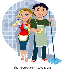 Man and woman sharing housework
