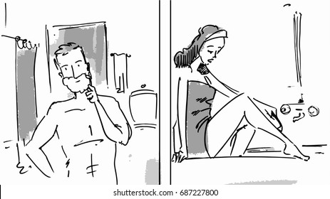 Man and woman shaving in the bathroom sketch Vector illustration for cartoon, or storyboard project