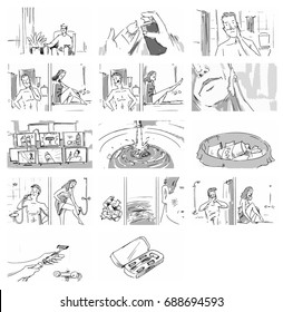 Man and woman shaving in the bathroom sketch Vector illustration for cartoon, or storyboard projects
