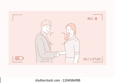 A man and a woman are shooting a handshake. hand drawn style vector doodle design illustrations.