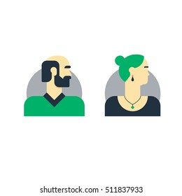 Man, woman side view, half face head, old elderly family couple, clients. Flat design vector illustration. People character