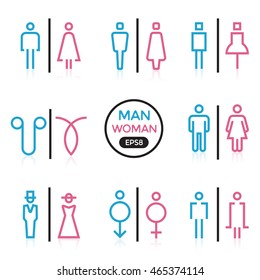 Man and Woman sign outline stroke vector illustration