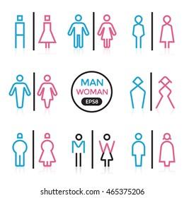 Man and Woman sign outline stroke outline stroke vector illustration