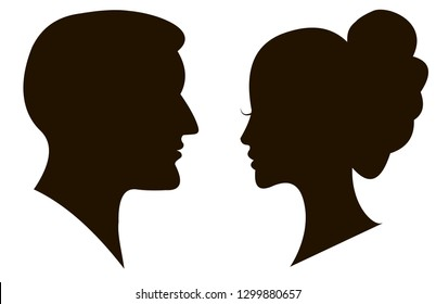 Man and woman silhouette face to face
