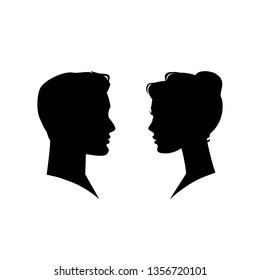 Man and woman silhouette face to face. Vector illustration