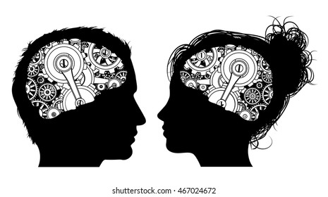 A man and a woman in silhouette with gears or cogs working in their brains