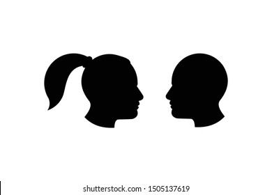 man and woman silhouette head for logo and icon vector