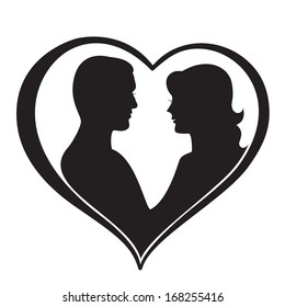 Man and Woman Silhouette in Heart Shape. Vector illustration