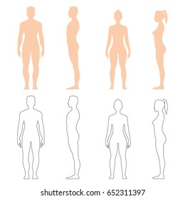 Man and woman silhouette, outline of strong healthy human body, standing pose in front and side view. Vector flat style illustration isolated on white background