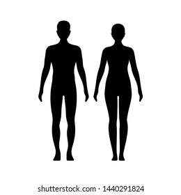 Man and woman silhouettes. Healthy, model body shapes. Vector illustration