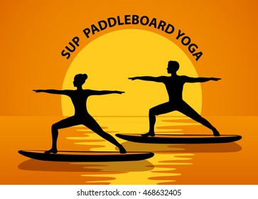 Man and Woman Silhouettes in warrior pose at sunset. Stand up paddle yoga workout on water