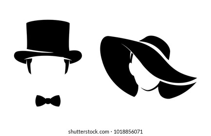 Man and woman simple icons, silhouette illustration
