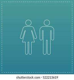 man and woman Simple line vector button. Thin line illustration icon. White outline symbol on blue background