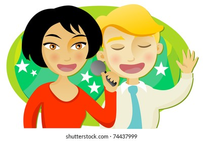 Man and woman singing karaoke with a microphone