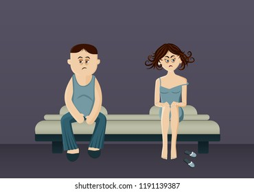 Man and woman sit apart on the bed. Young couple have a problem in relationships.