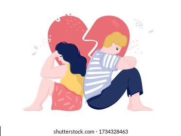 Man and a woman sit with their backs to each other against the background of a heart with a crack. Concept of discord in the family, divorce, toxic relationships, destroyed love. Vector illustration.