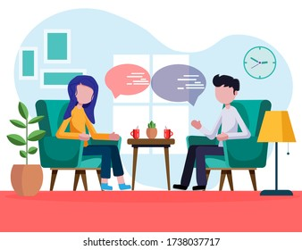 Man and woman are sitting in armchairs and talking. Characters flat, cartoon, vector illustration. The guy and the girl are talking at home. At breakfast, young people discuss