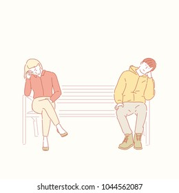 Man and woman are sitting bored on a park bench. hand drawn style vector doodle design illustrations.