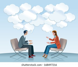 A man and a woman sitting in comfortable armchairs talk to each other openly and creatively. Among the gears seem flowing good ideas in Speech Balloons with shaped of clouds.