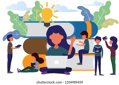 man and woman sitting front big books reading and knowledge. modern flat style vector illustration. Book festival concept of a small people reading a open huge book.