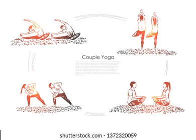 Man and woman sitting in lotus pose, healthy lifestyle, people meditating, husband and wife relaxation banner. Couple yoga, fitness exercise concept sketch. Hand drawn vector illustration