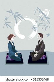 Man and woman sitting in the lotus position, in a meditation hall, practicing silent meditation. They belong to the tradition of Zen Buddhism. In the background an calligraphy circle draw.