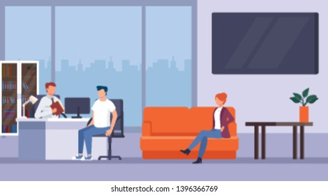 Man and woman sitting in a  office and consulting with bank worker. Banking consultation service concept. Vector flat graphic design cartoon illustration