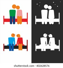 Man and woman sitting on a bed. Simple vector.