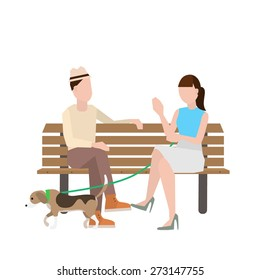man and woman sitting on bench with a dog vector illustration.