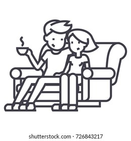 man and woman sitting on the sofa at home vector line icon, sign, illustration on background, editable strokes
