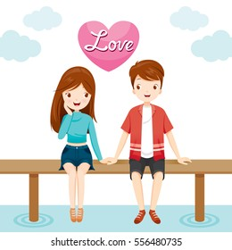 Man And Woman Sitting Together On Bridge, Valentine'??s Day, Love, Relationship, Sweetheart, Engagement, Wedding