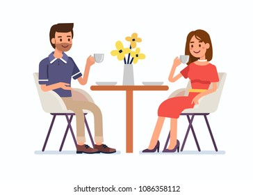 Man and woman sitting together in restaurant and drink coffee. Flat  cartoon style vector illustration isolated on white background.