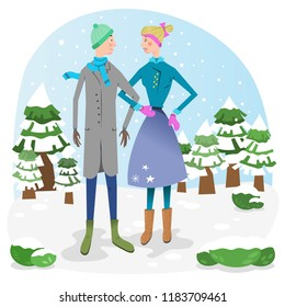 Man and woman in snowy landscape with fir trees in wintertime (vector illustration)