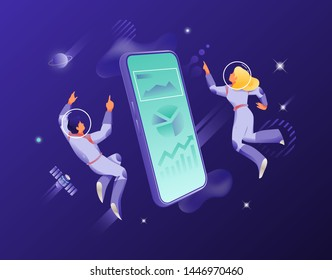 Man and woman in spacesuits around big isometric smartphone. Vector metaphor of modern connection and communication through cellphones.